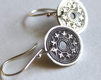 Fine Silver Earrings, Tribal Mandala Earrings, Silver Mandala Earrings