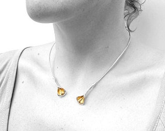 Two medium Calla-Lilies torque necklace with gold leaf by CARLOS TELLECHEA