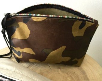 camouflage leather clutch, camouflage leather zipper pouch with rainbow zipper, cosmetics clutch- Sale
