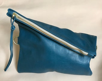 SALE 20% OFF - blue leather clutch - fold over clutch - cross body clutch -  blue leather bag - small leather zipper clutch- Sale