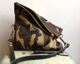 Camouflage leather clutch - small leather clutch - fold over clutch - crossbody clutch - cross body bag- Sale
