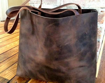 Dark brown leather tote bag large brown tote shopper leather travel bag  distressed dark brown leather da1bbe23d26aa