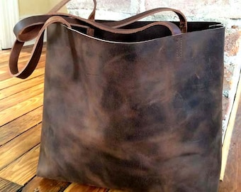 ae80885deb2d Huge Sale -Dark Brown Leather Tote Bag - large brown tote - shopper - Leather  Travel Bag - distressed dark brown Leather Market bag- Sale