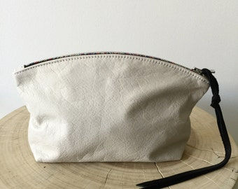 White leather clutch, white leather zipper pouch with rainbow zipper, cosmetics clutch- Sale