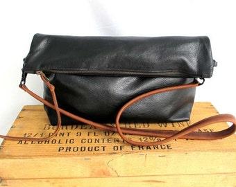 Sale -black leather bag. black crossbody bag. large leather clutch. cross body tote. black leather hobo bag- Sale