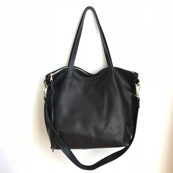 Huge Sale Large black Leather tote bag with zipper Black  3b9526b2a65bf