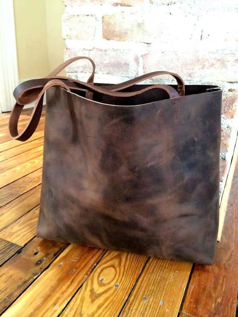 dbf6b7123 Sale Dark Brown Leather Tote Bag large brown tote shopper | Etsy