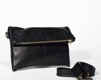Black Leather Clutch - Fold over Clutch - crossbody bag - black leather crossbody clutch