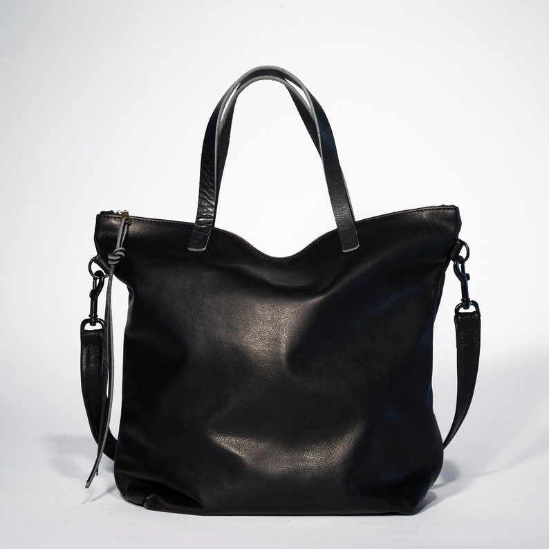 Huge Sale Large Black leather tote bag zipper tote black  b9289c12080e2