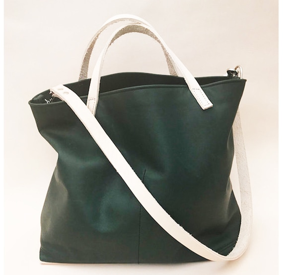 8a9cf69d8b6d Forest green leather tote market tote large leather hand