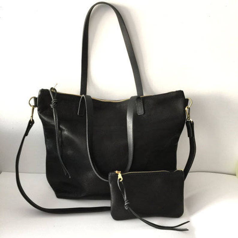 Huge Sale Black Leather Tote Bag with zipper zipper tote  ccb1463568e5e