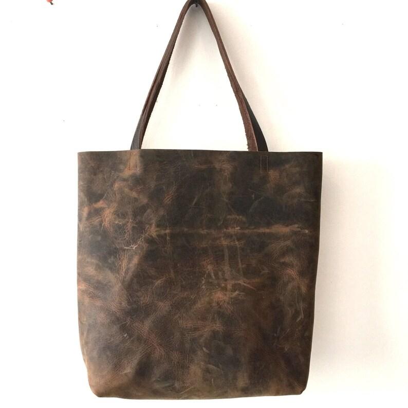 efba101896 In stock. Dark Brown Leather Tote Bag. large brown tote.