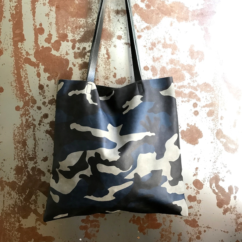 ee24cba141ae Sale blue Camouflage Leather Tote bag camo Leather Everyday