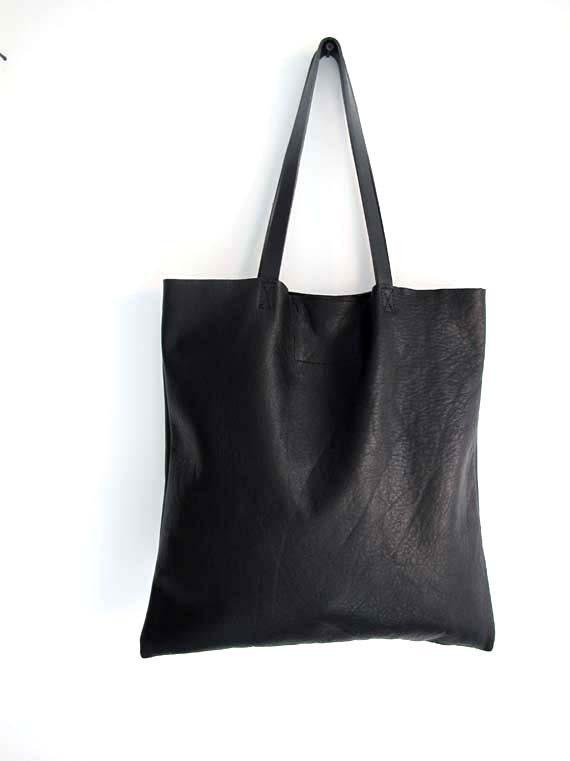 Sale Minimal Black Leather Tote Bag. Simple tote bag.