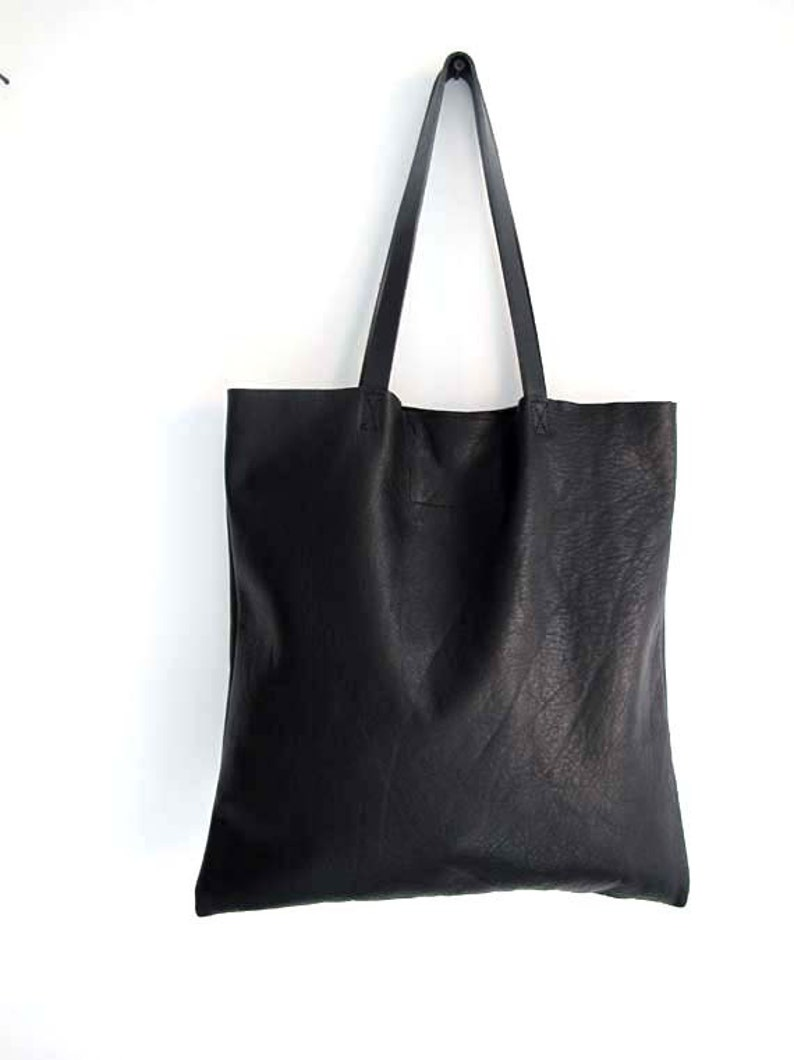 Sale Minimal Black Leather Tote Bag. Simple tote bag.  4aed1d09c933a