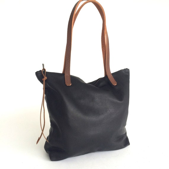 Black Leather Tote Bag with zipper. Crossbody
