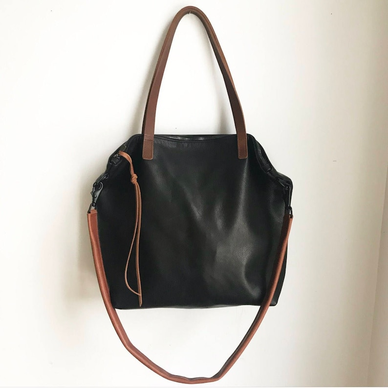Huge Sale Black Leather zipper Tote Bag. Large Laptop bag  3a33471563160