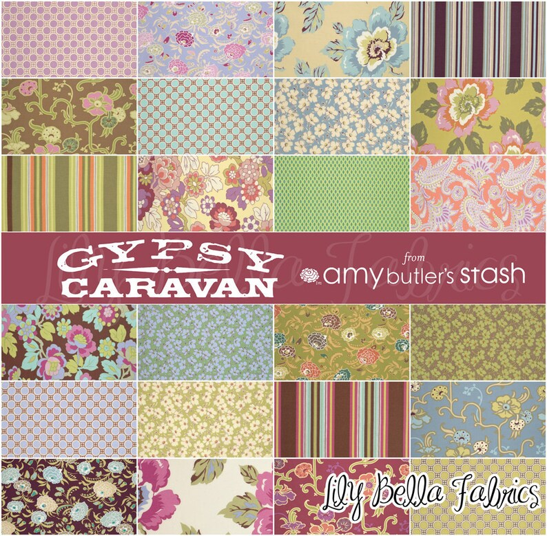 6 inch Quilting Fabric Squares Charm Pack Gypsy Caravan Amy Butler Fabric