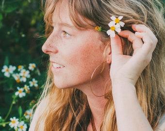 Thin Rose Gold Hoop Earrings - Delicate earrings for women