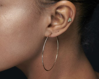 Thin Gold Hoop Earrings - 14K Gold-filled Hoops - Medium 2 inches - Large 2.5 inches - Extra Large 3 inches - Really Big 3.5 inches