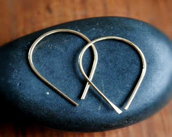 Small Upside down teardrop hoop earrings - 14K Gold or Argentium Silver