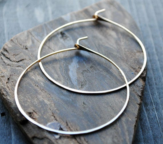0f90a7bd5 Thin Gold Hoop Earrings 14K Gold-filled Hoops Medium 2 | Etsy