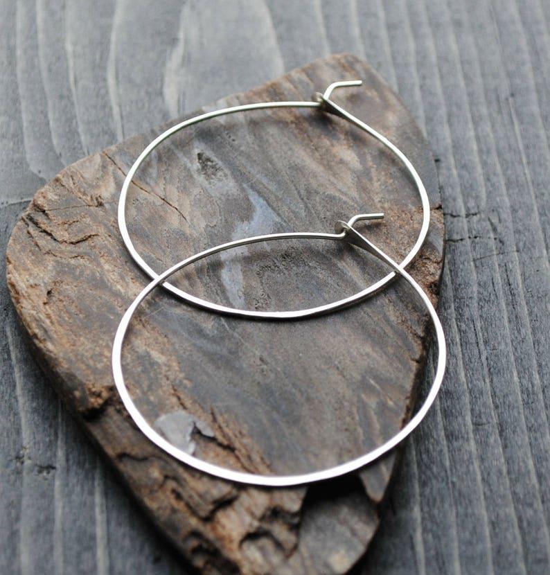 Thin Silver Hoop Earrings  Hypoallergenic Silver Jewelry  image 0