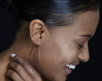 Triangle Hoop Earrings - Geometric Jewelry For Women - 14K Gold or Silver