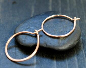 Small Rose Gold Hoop Earrings - 3/4 inch - 16mm Hoops
