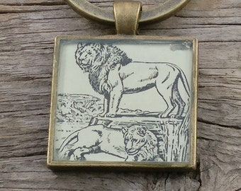 lion keychain | vintage dictionary image | Leo the lion keychain - SUMMER SALE!
