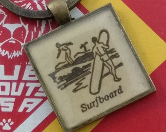 surfboard keychain | vintage dictionary image | surfer keychain - SUMMER SALE!