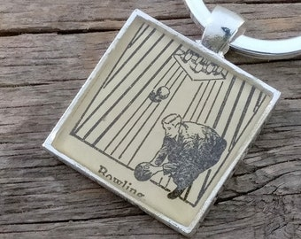 bowling keychain | vintage dictionary image | vintage bowler keychain - SUMMER SALE!