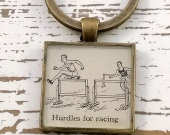 hurdles keychain | vintage dictionary image | track and field keychain - SUMMER SALE!