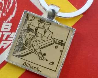 billiards keychain | vintage dictionary image | pool player keychain - SUMMER SALE!