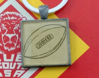 football keychain | vintage dictionary image | gift for football player / football fan - SUMMER SALE!