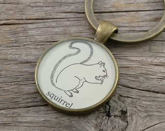 squirrel keychain | vintage dictionary image | forest animal keychain - SUMMER SALE!