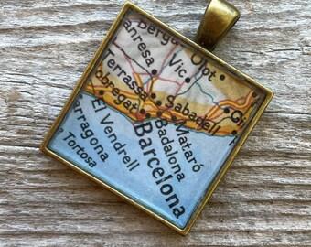 Barcelona Keychain or Pendant   Barcelona Spain Vintage Map