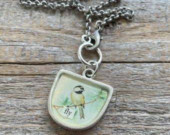 Chickadee Fly Necklace   Bird Vintage Image Collage Pendant