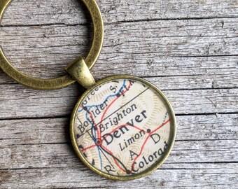 Denver Keychain or Pendant   Denver Vintage Map