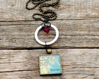 boston vintage map necklace | boston necklace | traveler | geography - SUMMER SALE!