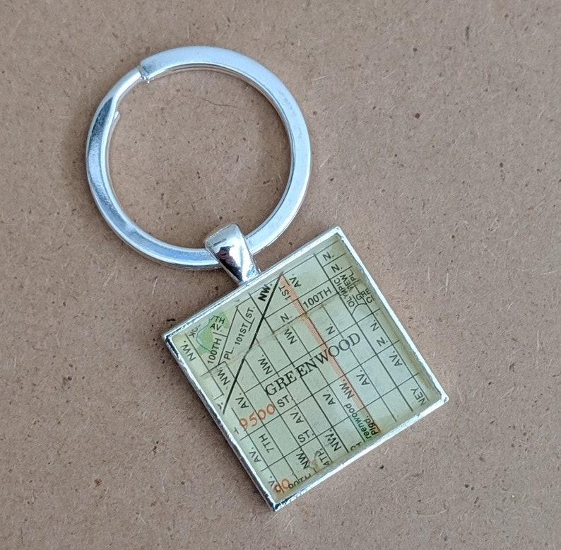 Seattle neighborhood keychain - Greenwood keychain | Greenwood Seattle  vintage map keychain - SALE PRICE