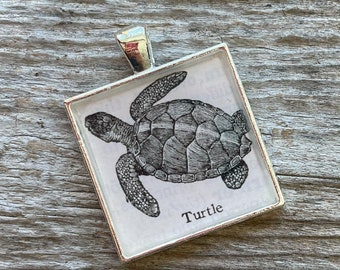 Turtle Keychain or Pendant   Turtle Vintage Dictionary Image