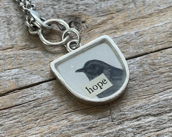 Hope Bird Necklace   Bird Vintage Image Collage Pendant