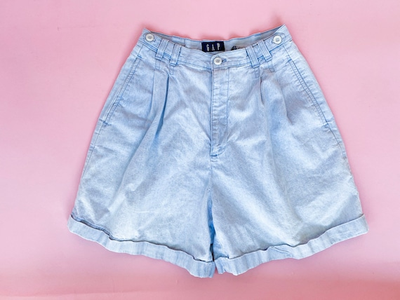 90's high waisted shorts gap light blue jean chamb