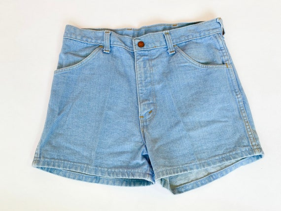 vintage 70's high waist denim shorts light blue de