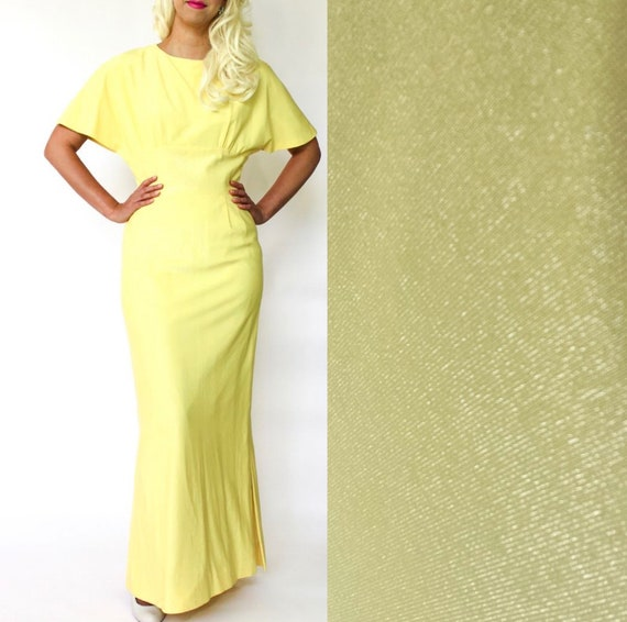 vintage 70's does 30's gown shimmery yellow bright