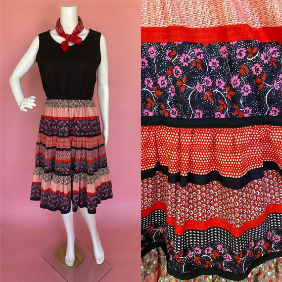 60's dress cute prairie square dance country west… - image 1