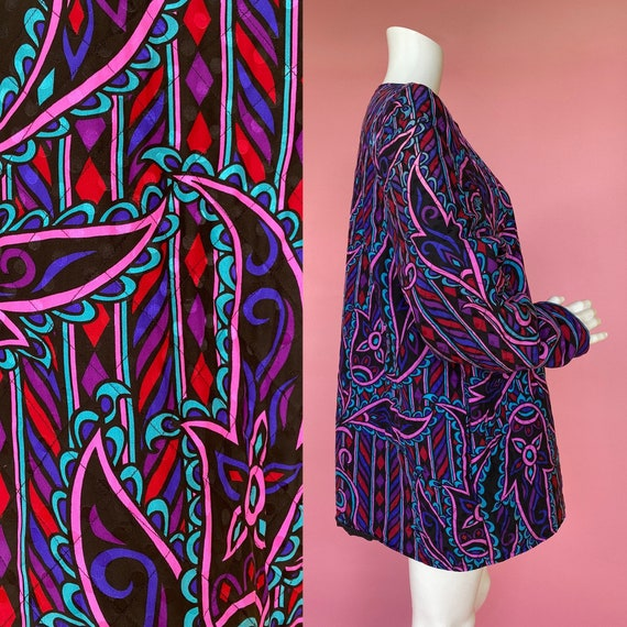 90's silk quilted bob mackie jacket XL psychedelic