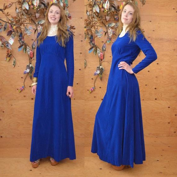 1960s Blue Velvet Maxi Dress