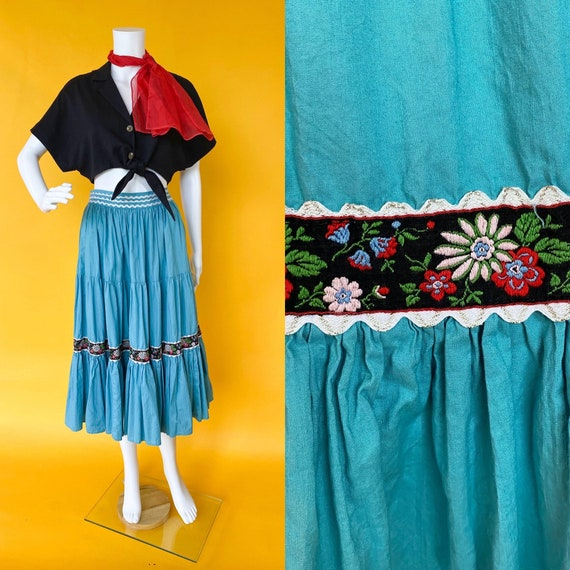 50's patio skirt teal green seafoam green fiesta s